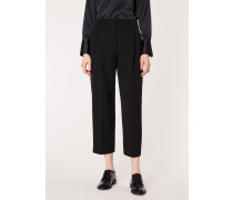 Black Pleated Tuxedo Trousers With Satin Details