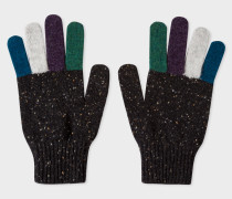Black Donegal Stripe Wool Gloves