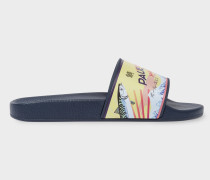 Navy 'Ruben' Slides With 'Mackerel' Print
