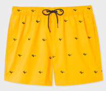 Yellow Swim Shorts With 'Sunglasses' Embroidery