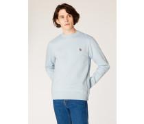 Light Blue Organic-Cotton Zebra Logo Sweatshirt