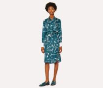 Teal 'Ideas Script' Print Silk Shirt Dress