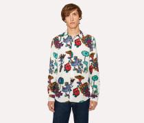 Slim-Fit White 'Florian' Print Shirt