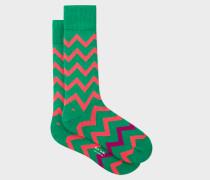 Green Bright Zig-Zag Socks