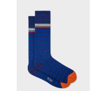Navy Blue Two-Stripe Socks