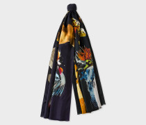 Navy 'Safari' Print Silk Scarf