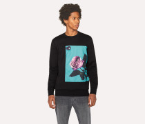 Black Sweatshirt With Appliqué 'Rose' Print