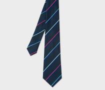 Navy Thin Stripe Narrow Silk Tie