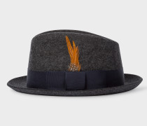 Charcoal Grey Wool-Felt Trilby With Feather