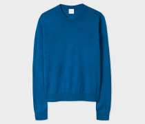 Blue Wool-Blend Openwork-Knit Sweater