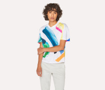 Multi-Colour 'Paint Strokes' Print T-Shirt