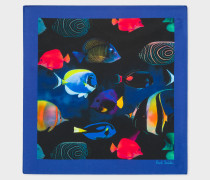 'Tropical Fish' Print Silk Pocket Square