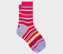 Pink Multi-Coloured Stripe Socks