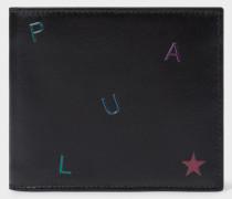 Black Embossed 'Letters' Leather Billfold Wallet