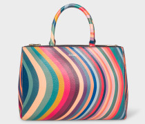 'Swirl' Print Leather Tote Bag