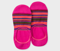 Fuchsia Multi-Colour Striped Loafer Socks