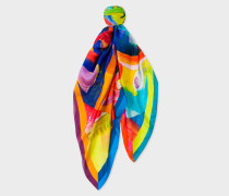 Abstract 'Paint Brush Pot' Painted Print Silk Scarf
