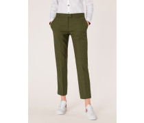 Slim-Fit Khaki Wool-Hopsack Trousers