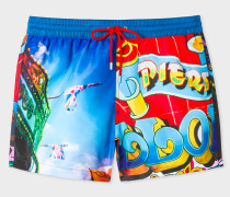 Blue 'Brighton Photo' Print Swim Shorts