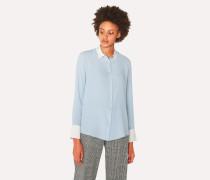 Light Blue Silk-Blend Shirt with Contrasting Details