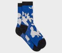 Blue 'Miami Floral' Silk-Blend Socks