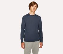 Slate Blue Crew-Neck Merino Wool Sweater
