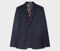 Slim-Fit Navy Cotton-Linen Buggy Lined Blazer