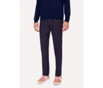 Slim-Fit Dark Navy Linen Trousers
