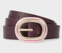Burgundy Leather Belt With Pink Buckle
