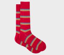 Red Multi-Coloured Block Stripe Socks
