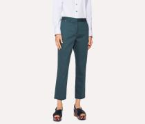 Slim-Fit Petrol 'Geometric Flower' Print Cotton-Blend Trousers