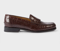 Brown Mock-Croc Leather 'Lennox' Loafers