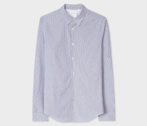 Slim-Fit Slate Blue Stripe 'Cherry' Embroidery Shirt