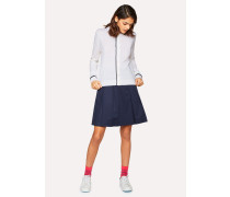 Navy Pleated Cotton-Stretch Mini Skirt