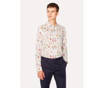 Slim-Fit Cream Liberty Print Shirt With Contrast Details