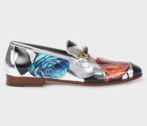 Silver 'Rose' Print Leather 'Grover' Loafers