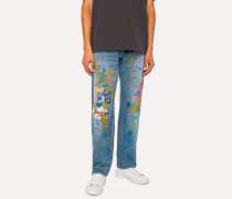 Standard-Fit Light-Wash Red Ear Jeans With Paint Splash Detail