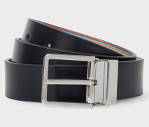 Signature Stripe And Navy Cut-To-Fit Reversible Leather Belt