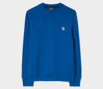 Blue Organic-Cotton Zebra Logo Sweatshirt