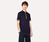 Slim-Fit Navy Cotton-Piqué Polo Shirt With 'Artist Stripe' Details