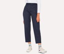 Navy Flecked Slub Double-Pleat Wool-Blend Trousers