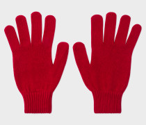 Red Cashmere-Blend Gloves