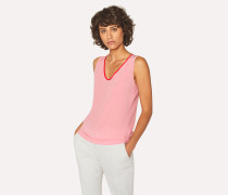 Pink Silk Top With Contrasting Trim