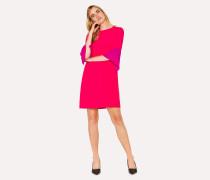 Fuchsia Silk-Blend Shift Dress With Contrasting Cuffs