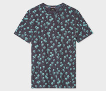 Navy 'Cuban Palm Tree' Print T-Shirt
