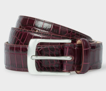 Burgundy Mock-Croc Leather Belt