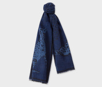 Navy 'Lucy Leopard' Jacquard Scarf