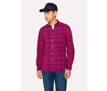 Tailored-Fit Red Check Shirt With Contrasting Back