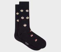 Dark Navy Polka Dot Stripe Socks