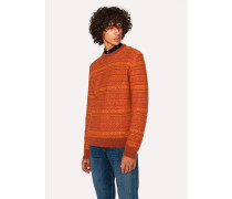 Orange Fair Isle Wool-Blend Sweater